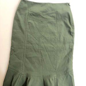 Anthropologie Skirts - Anthropologie Elevenses olive godet skirt, Sz. 0